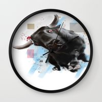 bull Wall Clocks featuring bull by e12art