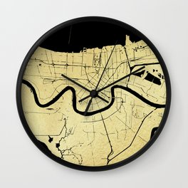 New Orleans Black and Gold Map Wall Clock