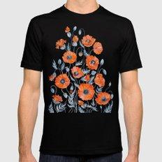 Poppies botanical art Black Mens Fitted Tee MEDIUM