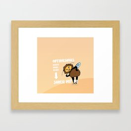 Optimismus (Optimism) means reading backwards Sumsi mit Po (Bumblebee with butt) Framed Art Print