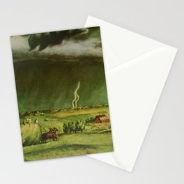 The Line Storm - Thunder and Lightning on the American Plains by John Steuart Curry Stationery Cards