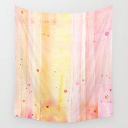 Pink Orange Rain Watercolor Texture Splatters Wall Tapestry