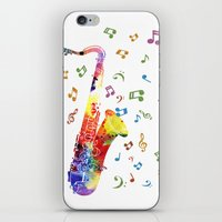 saxophone iPhone & iPod Skins featuring Saxophone by Miss L in Art