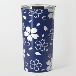 Japanese Blue Sakura Pattern Travel Mug