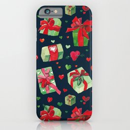 love is a present watercolor pattern iPhone Case