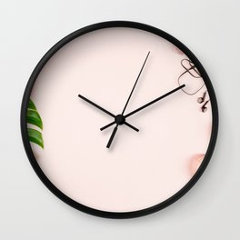 Beautiful flat lay with trendy accessories, close up Wall Clock