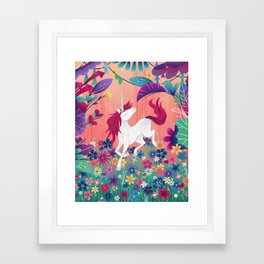 Floral Frolic Unicorn Framed Art Print