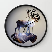 reindeer Wall Clocks featuring Reindeer by infloence