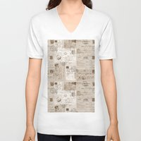 letters V-neck T-shirts featuring Old Letters by LebensART