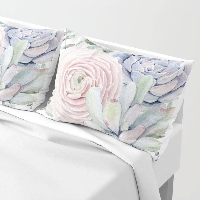 Succulent Blooms Pillow Sham