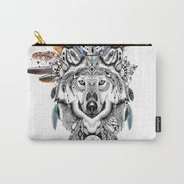 Bohemian Wolf with Feather Headdress Carry-All Pouch