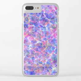 Abstract girly pink blue watercolor hand painted marble Clear iPhone Case