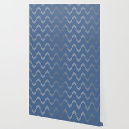 Simply Deconstructed Chevron White Gold Sands  on Aegean Blue Wallpaper