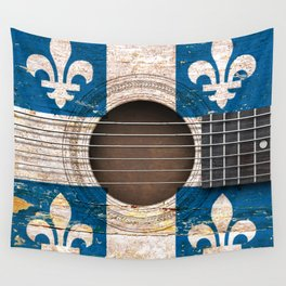 Old Vintage Acoustic Guitar with Quebec Flag Wall Tapestry