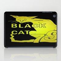 duvet cover iPad Cases featuring BLACK CAT DUVET COVER by aztosaha