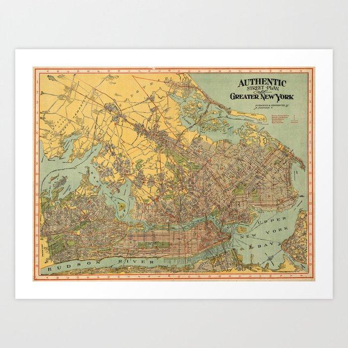 Vintage Map of New York City (1913) Art Print by bravuramedia
