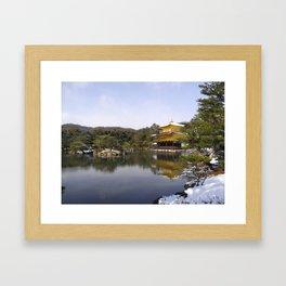 Kyoto Gold temple (Kinkaku-ji) in the snow pt1 Framed Art Print