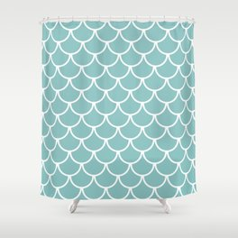 Chalky Blue Fish Scales Pattern Shower Curtain