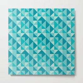 Blue triangles pattern Metal Print