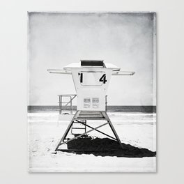 Black and White Beach Photography, Grey Lifeguard Stand, Gray Coastal Nautical Art Canvas Print