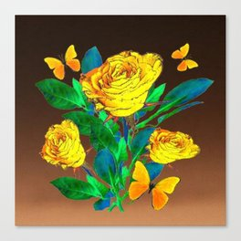 BROWN SHADES YELLOW SPRING ROSES & BUTTERFLIES Canvas Print