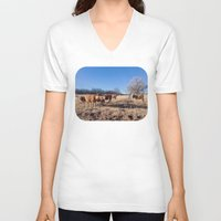 cows V-neck T-shirts featuring Border Cows by Beau Bright