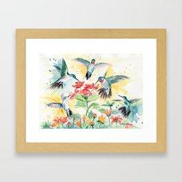 Hummingbird Party Framed Art Print