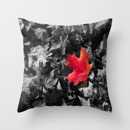Singled Out Red Maple Leaf Throw Pillow