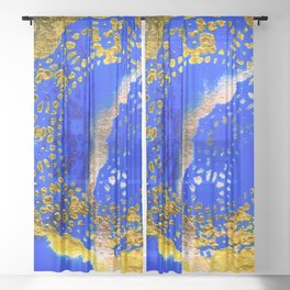 Royal Blue and Gold Abstract Lace Design Sheer Curtain