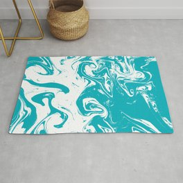Gesshin - spille dink turquoise japanese watercolor painting topography map landscape water ocean Rug