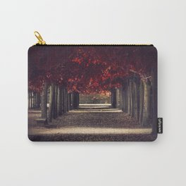 Red colors of autumn, surreal photo, red trees, alley in a park Carry-All Pouch