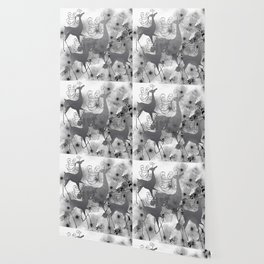 REINDEER AND FLOWERS in Black and White Wallpaper