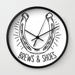 Funny Horsehoes Game Gift Brews and Shoes Wall Clock