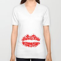 lips V-neck T-shirts featuring LIPS by ROBAUSCH