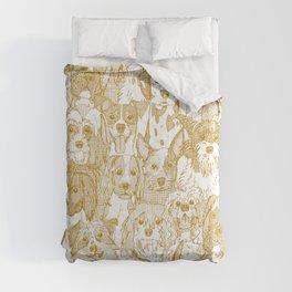 dogs aplenty gold white Comforters