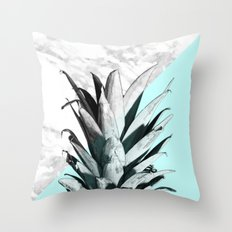 Pineapple Top Marble Pastel Blue Throw Pillow