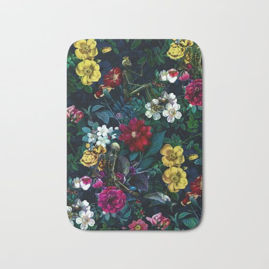 Flowers and Skeletons Bath Mat