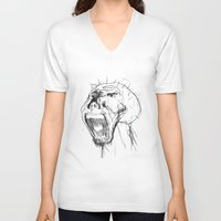 beast V-neck T-shirts featuring Beast by Luis C. Araujo