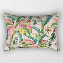 Palm Life, tropical palm leaves, banana palm, Hollywood Regency, green, pinks Rectangular Pillow