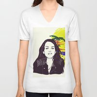 ultraviolence V-neck T-shirts featuring THE ULTRAVIOLENCE GIRL by Robert Red ART