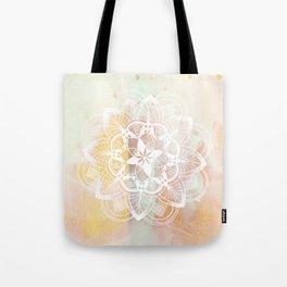 Lotus white mandala on pink Tote Bag