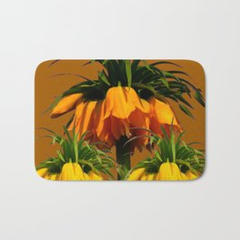 CARAMEL COLOR YELLOW CROWN IMPERIAL FLOWERS Bath Mat