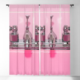 Retro Pink Sink Bathroom Sink and Faucet Blackout Curtain