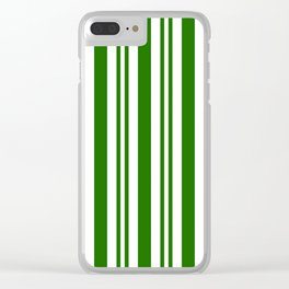 Green and white vertical stripes Clear iPhone Case