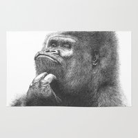 gorilla Area & Throw Rugs featuring Gorilla by Nasir Nadzir