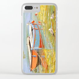 Blue And Orange Boats At The Harbor Clear iPhone Case
