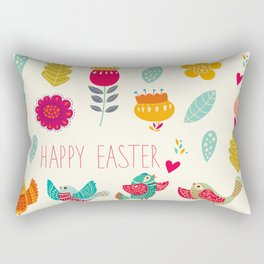 Ivory teal orange floral birds Happy Easter typography Rectangular Pillow