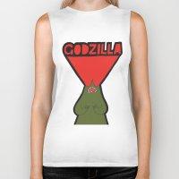godzilla Biker Tanks featuring Godzilla by evannave