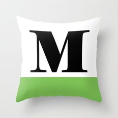 Monogram Letter M (color block) Throw Pillow