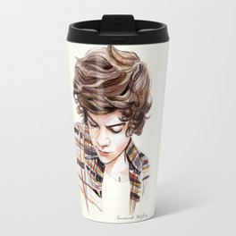 H plaid watercolors Travel Mug